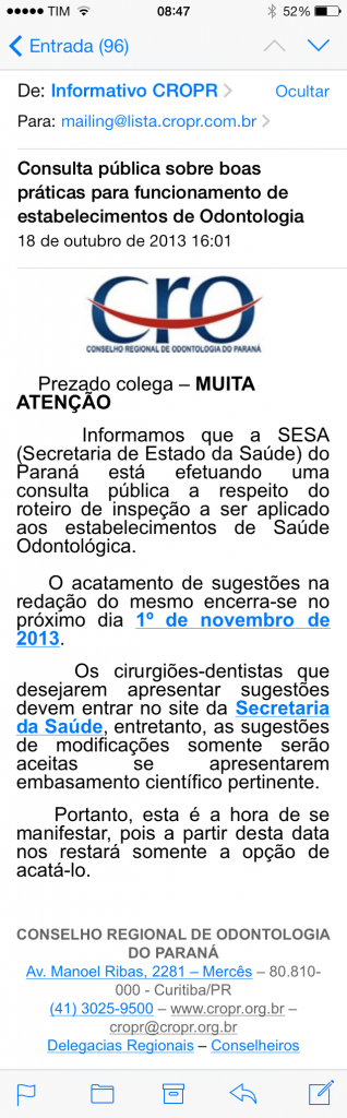 E-mail do CRO-PR