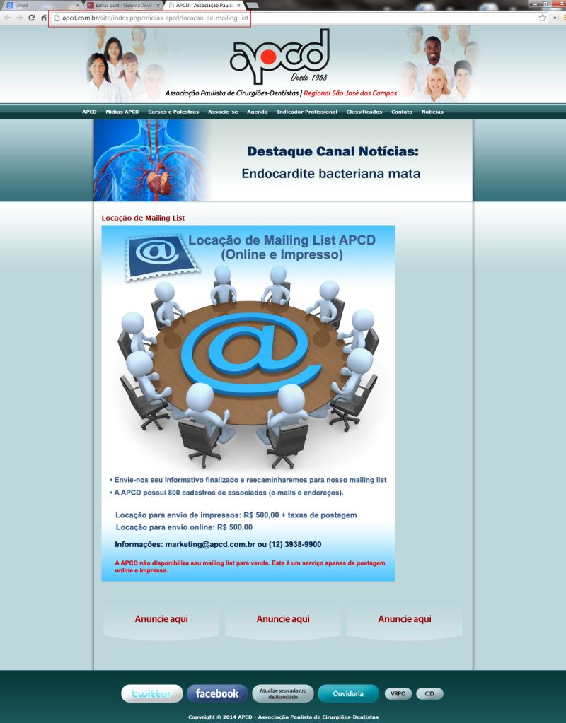 Aluguel de Mailing List - APCD