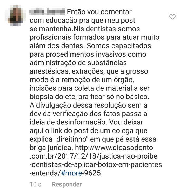 Comentário no Instagram